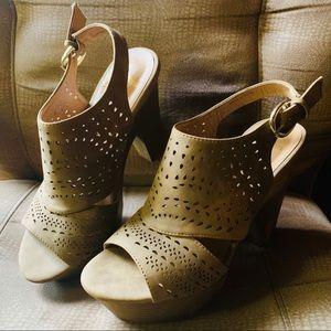Tan Platform Heel Sandals